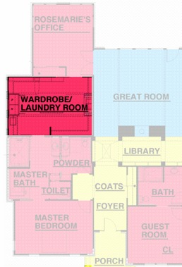 This is floor plan only shows part of the house, but where the laundry room fits in relationship to the rest of the house.