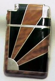 Art Deco lighter with sunrise pattern