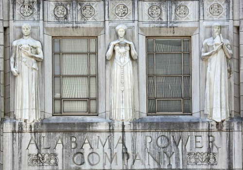The old Alabama Power Company has some ghostly Art Deco guardians.