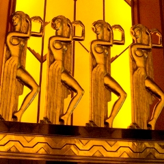 Dancing Egyptian girls borrow more from Art Deco than anything found on the Nile, but they are clearly recognizable as Egyptian figures.