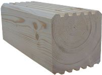 Square profile milled log with grooves