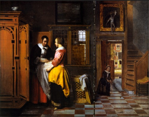 Houses in Art - Interior - Pieter de Hooch - Unknown Name - Interior with Stairs