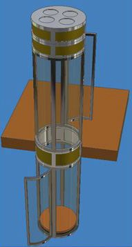 This elevator by Pneumatic Vacuum Elevators LLC shows the vents for the turbine at the top of the unit.