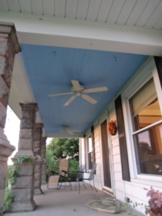 The blue ceiling on my front porch