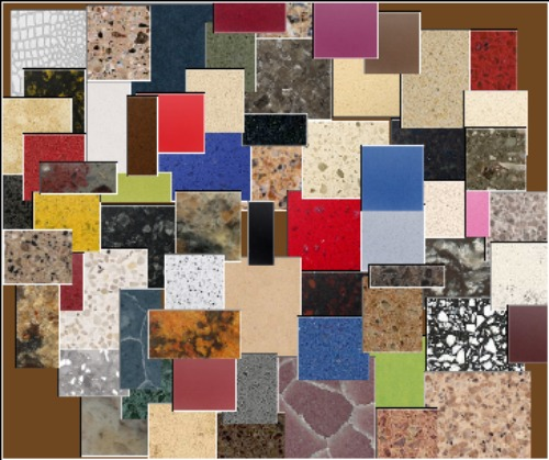 Quartz countertop collage of colors available from different manufacturers