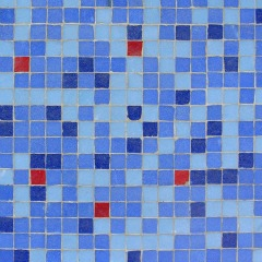 Bathroom floor tile pattern using mix of blues with red pop - bathroom tile design ideas