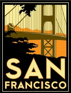Art Deco Golden Gate Bridge Postcard for San Fransisco