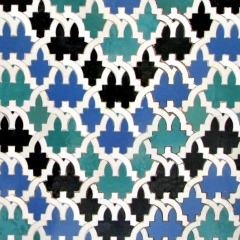 This requires specially shaped tiles.  There are three different shapes in four colors - bathroom tile design ideas