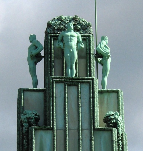 Central tower of the Stoclet Palace Art Nouveau home by Josef Hoffman