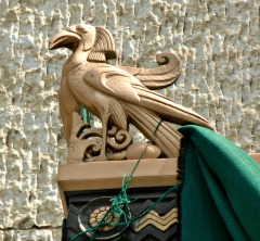 Gold Egyptian bird adorns a doorway at the Leveque Tower in Columbus, OH