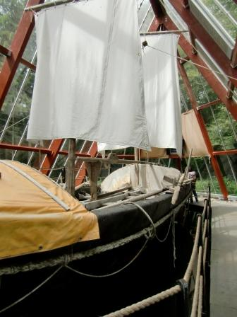 The recreated boat used in the sail tracing St. Brendan's route across the Atlantic - now at Craggaunowen