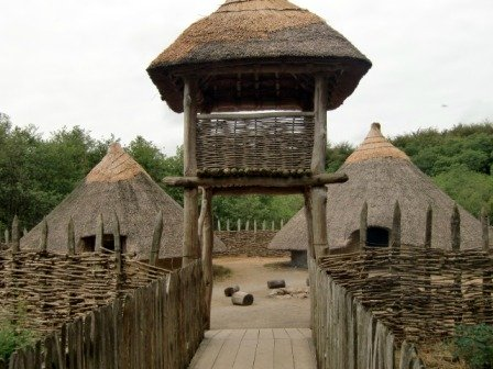 Entry to the crannog at Craggaunowen in Ireland