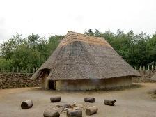 A hut in the crannog at Craggaunowen, in Ireland