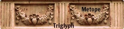 Here a swag carving serves as a repeating metope.  The triglyphs separate the metopes.