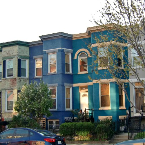 A pair of blue townhomes in D.C.