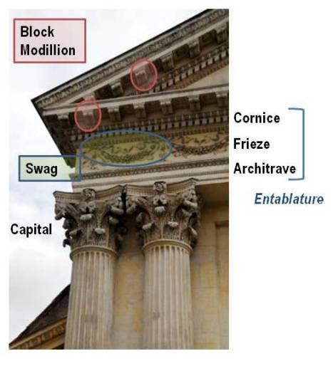 A Corinthian column and entablature
