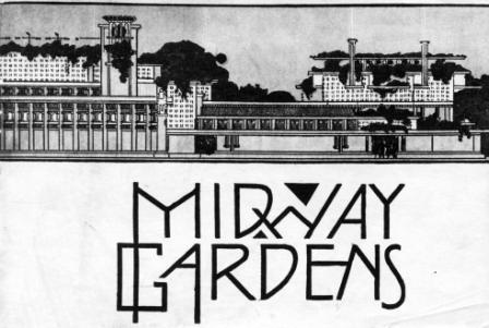 Midway Gardens Drawing by Frank Lloyd Wright with Art Deco or Art Nouveau type font