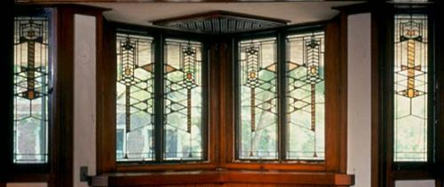 Robie House windows stained glass, Frank Lloyd Wright, Art Deco