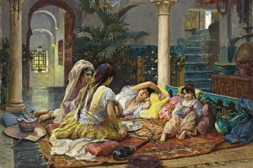 Houses in Art - Frederick Arthur Bridgman - In the Harem - 1894