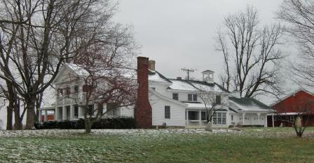 Greek Revival Architecture,Gray Farmhouse Side View