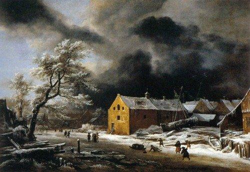 Houses in Art Jacob Isaacks von Ruisdael winter landscape 1679