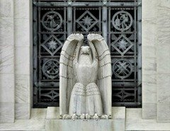 Art Deco Eagle in front of James T. Foley Courthouse