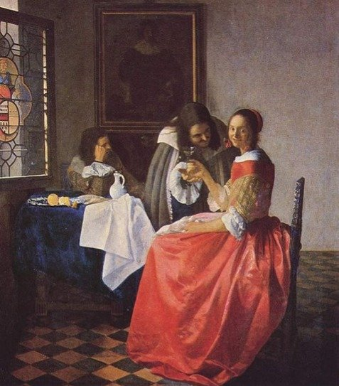 Houses in Art - Jan VerMeer - Lady and Two Gentlemen - 1659