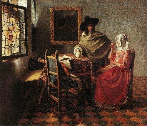 Houses in Art - Jan VerMeer - Lady Drinking and a Gentleman - 1658