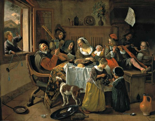 House Interiors as painted by the Masters - Jan Steen - The Cheerful Family - 1658