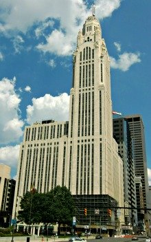 Art Deco Skyscraper now known as the Leveque Tower in Columbus, Ohio is now undergoing a renovation