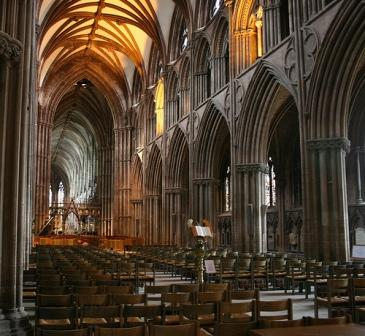 Lichfield Cathedral, an example of the Early English Decorated style that Ruskin preferred.