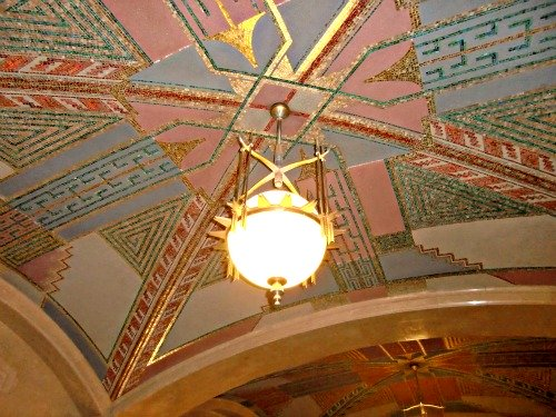 Art Deco Ohio Supreme Court Building Indian pattern mosaic and globe lights suspended by arrows