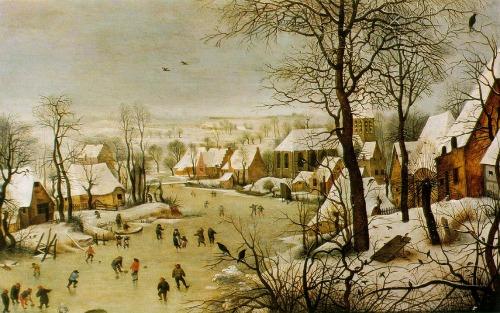 Houses in Art - Pieter Bruegel the Elder - Winter Scene with Bird Trap - 1565