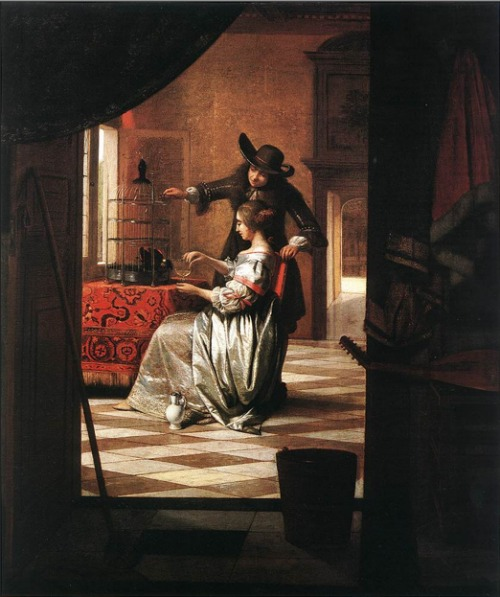 Houses in Art - Interiors - Pieter de Hooch - Unknown Name - Woman with Magpie