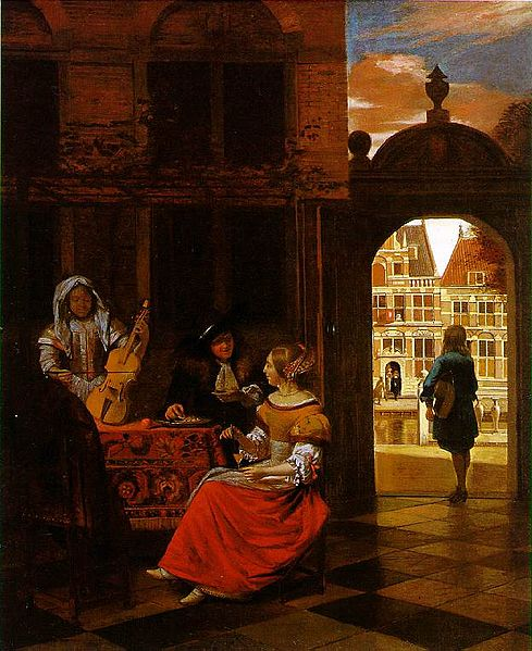 Houses in Art - Courtyard Architecture - Pieter de Hooch - Musical Party in Courtyar - 1677
