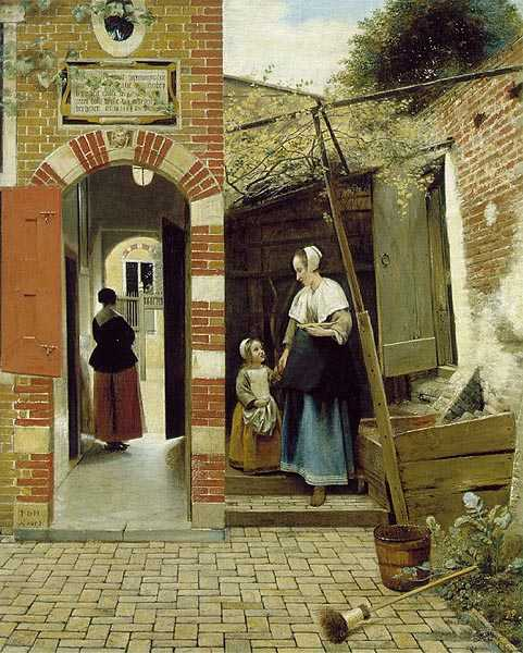 Houses in Art - Courtyard Architecture - Woman and Child