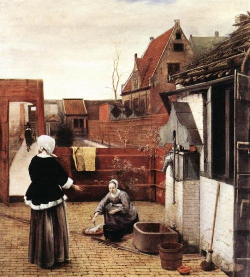 Houses in Art - Courtyard Architecture - Pieter de Hooch - Courtyard with Well