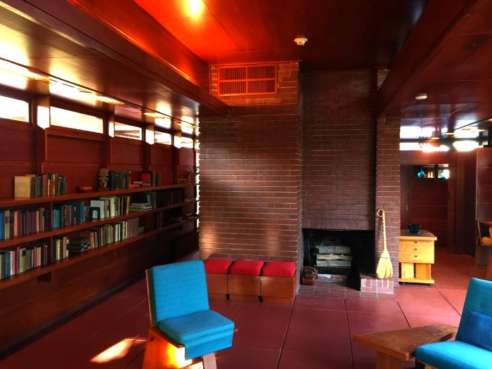 A view of the Living Room hearth in the Rosenbaum House, a Frank Lloyd Wright Usonian House