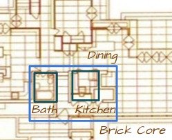Map of Bath and Kitchen of the Rosenbaum House - A Frank Lloyd Wright Usonian House