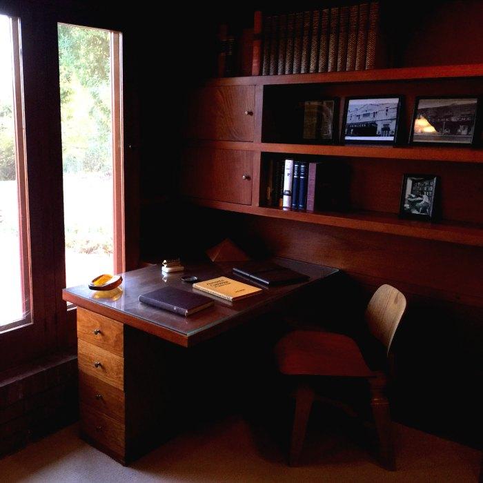A built in desk in the study of the Rosenbaum House, a Frank Lloyd Wright Usonian House