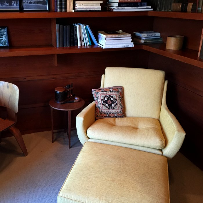 Corner of the study in the Rosenbaum House, a Frank Lloyd Wright Usonian House