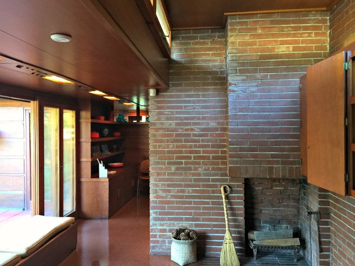 The bunk room looking to breakfast room - A Frank Lloyd Wright Usonian House