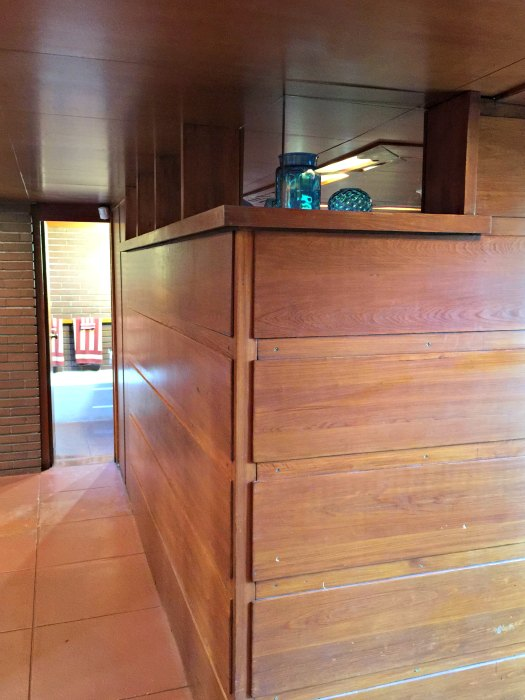 The view to the bathroom in the Rosenbaum Home - a Frank Lloyd Wright Usonian House
