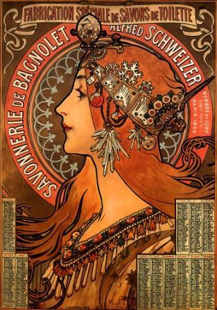 Art Nouveau-  Alphonse Mucha ad for Savonnerie de Bagnolet soap