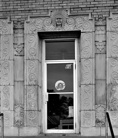 The Adair County Courthouse is not a classical building, but the Art Deco artists went crazy with volutes.