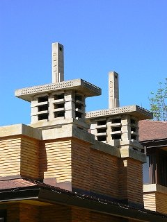 Frank Lloyd Wright designed Darwin D Martin home with Geometric design chimney caps very similar to Art Deco