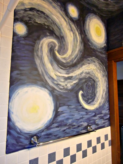 My family won't let me repaint this bathroom.  A whim has become a tradition.  In retrospect I would have down-sized the stars and not gone so wild with the galaxies. Van Gogh's Starry Night did have the perfect colors to match my colored tiles.