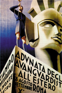 Italian Art Deco poster showing monumental head in the background