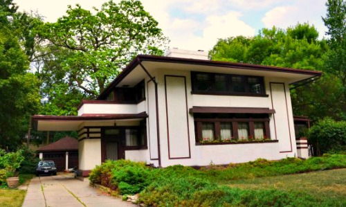 Frank Lloyd Wright designed Stephen Hunt home.  Prairie Style with cantilevered car port