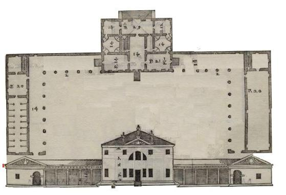 Palladian house woodcut from
